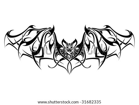 Free Tatto Designs on Bat Tribal Tattoo Design Stock Vector 31682335   Shutterstock