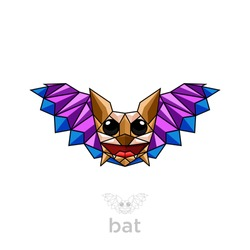 Bat with polygon style design vector