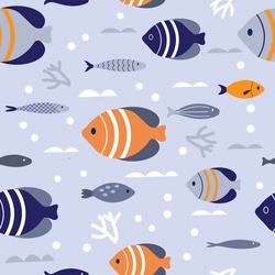 Batfish blue and orange geometric seamless pattern backdrop. Underwater fish scene with coral and waves, sea-life background for fabric, upholstery, wallpaper, textile prints, and gift wrapping paper.