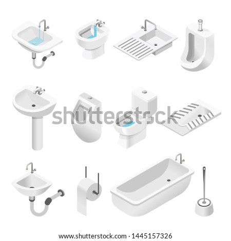 Bath and toilet bathroom furniture and equipment isolated objects sink and bidet urinal paper holder and brush rest room and shower ceramic items tap and flush drain and sewage house plumbing.