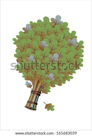 bath broom vector; oak broom in curve; bath broom; green leaves; oak broom illustrations; oak leaf vector;  bundle of twigs; oak leaves