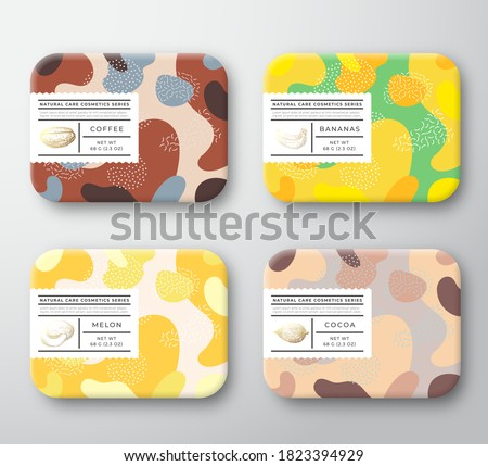 Bath Care Cosmetics Boxes Set. Vector Wrapped Containers Label Cover Collection. Packaging with Hand Drawn Coffee, Cocoa Beans, Melon and Bananas. Abstract Camo Background Pattern Layout. Isolated.