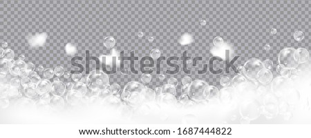 Bath foam isolated on transparent background. Shampoo bubbles texture.Sparkling shampoo and bath lather vector illustration.