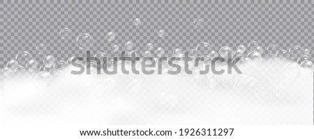 Bath foam isolated on transparent background. Shampoo bubbles texture.Sparkling shampoo and bath lather vector illustration. Foto stock ©