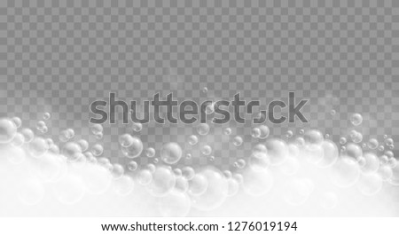 Bath foam isolated on transparent background. Soap, gel or shampoo bubbles overlay suds texture. Realistic vector illustration.