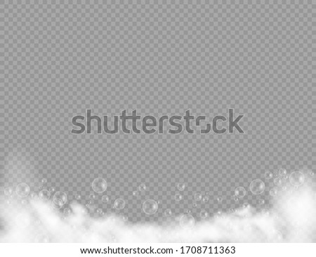 Bath foam with shampoo bubbles isolated on a transparent background. Vector shave, foam mousse with bubbles top view template for your advertising design.