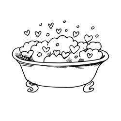 Bath for your girlfriend. Hand drawing doodle. Outline Suitable for postcards, prints. Valentine's day, love. Stock vector illustration.