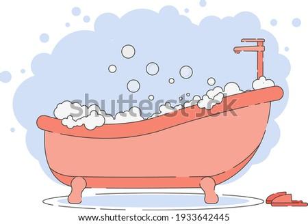 bath full of foam with bubbles