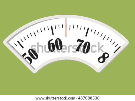 Bath scale dial. Measurement instrument in kilogram for a diet control. vector illustration