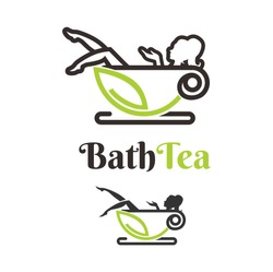 bath tea logo design template, with woman silhouette character