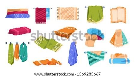 Bath towels. Beach and spa soft cotton towels in stack and rolled, hygiene and kitchen textile clothing for hands. Vector set colorful towel collection in stack or hanging on hangers