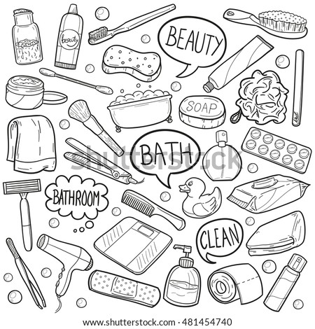 Bathroom Beauty Objects Doodle Icons Hand Made