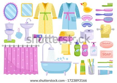 Bathroom cartoon elements. Personal hygiene and everyday body care bathroom elements. Bathrobe, towel, toilet, bathtub, mirror, comb, bath sponge, soap and sink isolated vector illustration.