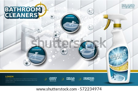 Bathroom cleaners ads, spray bottle with detergent liquid used for bathroom in 3d illustration, bubbles floating in the air
