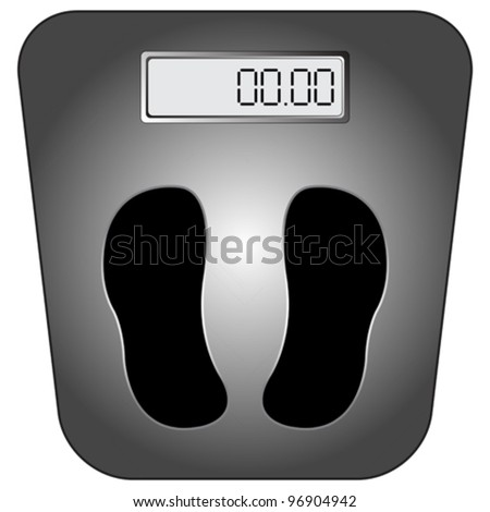 bathroom digital scale against white background, abstract vector art illustration
