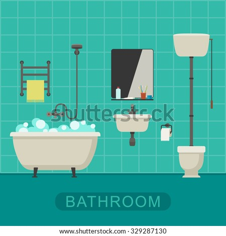 Bathroom flat illustration with toilet sink and hygienic supplies vector banner of bathroom - Image of bathroom ...