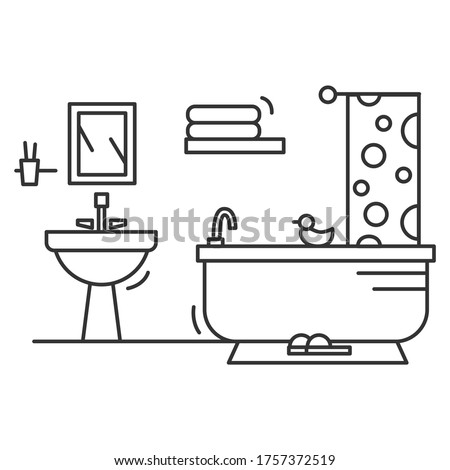 Bathroom icon. Linear pictogram of comfortable bathroom with bathtub, sink, shower, curtain towels and rubber duck. House design and modern home bath room interior illustration. Editable stroke vector