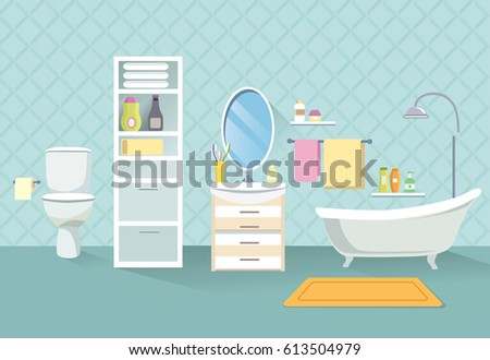 Bathroom interior. Bath room furniture set.