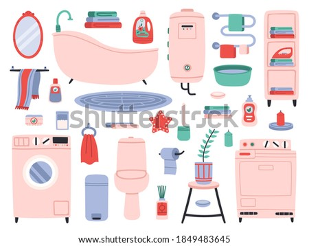 Bathroom interior. Bath tools, toilette utensils, bathtub, toilet, washer and dryer. Bathroom interior accessories vector symbols set. Water closet and towel dryer, house plant and chemicals