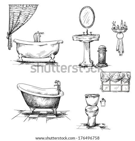 Bathroom Interior Elements Hand Drawn Bathtub Toilet