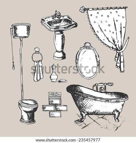 Bathroom Interior Elements Vintage Style Hand Drawn Illustration 235457977