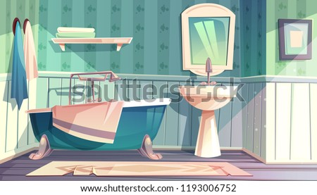 Bathroom interior in vintage French Provence style vector illustration. Cartoon background of rustic antique furniture, bathtub and sink backsplash with mirror and towels on hooks