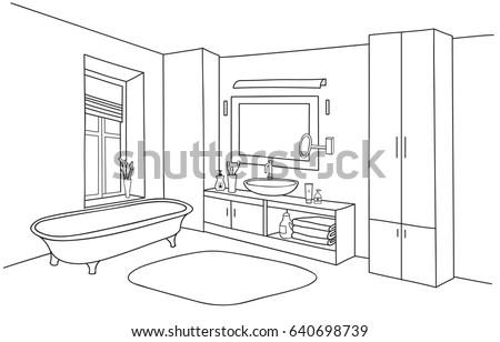 Bathroom interior line sketch. Bath room furniture set.