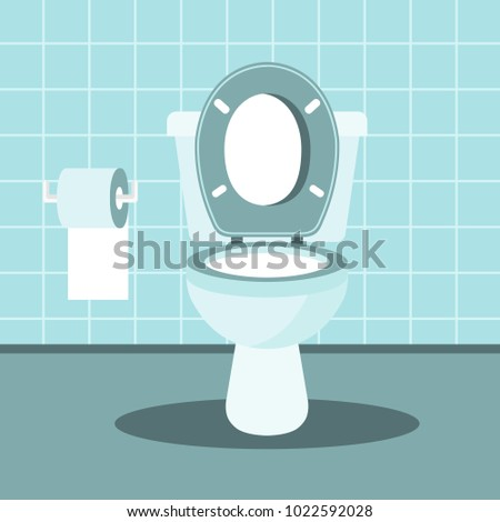 Bathroom interior with toilet bowl and toilet paper. Flat vector illustration.