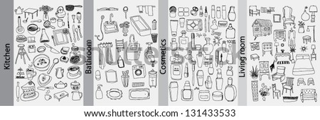 Bathroom, kitchen, furniture and cosmetics objects