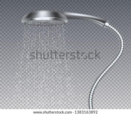 Bathroom metal head. Realistic water rain shower, isolated metal sprinkler with water spray. Vector realistic elegant contemporary shower watering