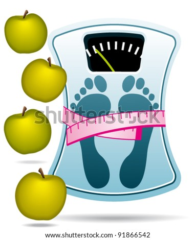 Bathroom scale and apples. Slimming program icon.