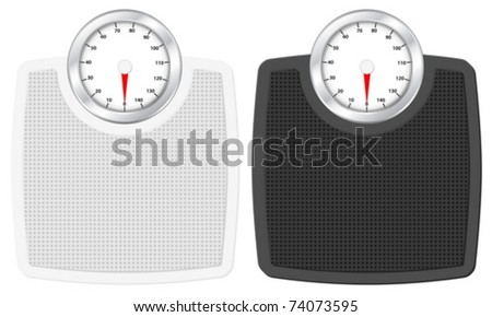 Bathroom scale set on white background. Vector illustration.