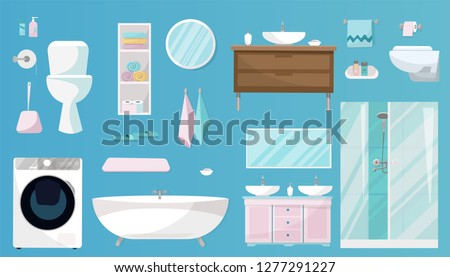 Bathroom set of Furniture, toiletries, sanitation, equipment and articles of hygiene for the bathroom. Sanitary ware set isolated on blue background. Flat cartoon vector illustration