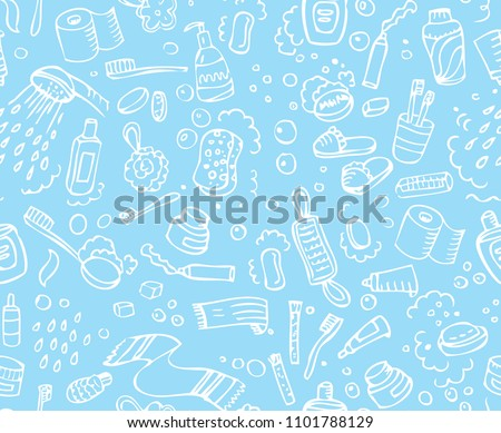 Bathroom set, washing, bathing, cleanliness seamless pattern. Hand drawn doodle background. Vector illustration. Bath texture. Soap, Towel, Toothpaste, Bubbles icons.