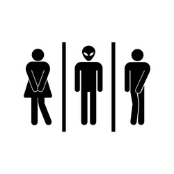 Bathroom sign for alien, woman and man vector icon.