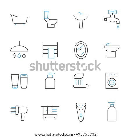 bathroom thin line icons