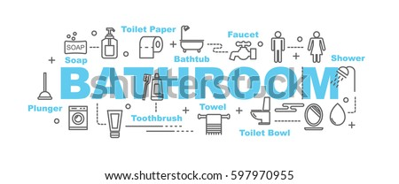 bathroom vector banner design concept, flat style with thin line art icons on white background