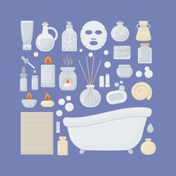 Bathroom vector flat icons set, big set of flat design interior, body care and cosmetic products objects isolated on the dark background, vector illustration