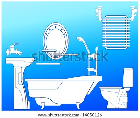 Bathroom with bath, shower, bowl, toilet, towel drying and mirror, illustration in blue