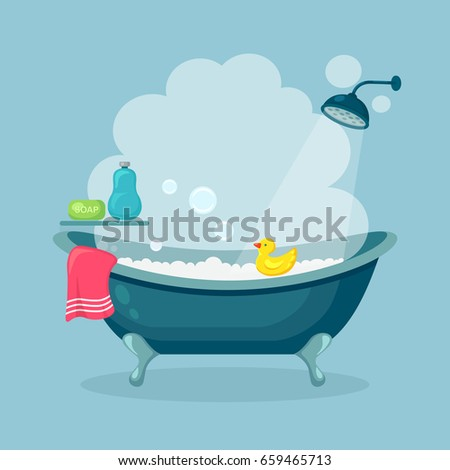 Bathtub full of foam with bubbles isolated on background. Shower taps, soap, bottle of shampoo, rubber duck and pink towel. Comfortable equipment for bathing and relaxing. Vector flat illustration