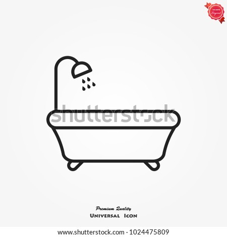 Bathtub icon, bath with shower sign.
