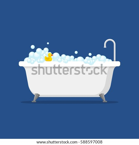 Bathtub with foam bubbles inside and bath yellow rubber duck isolated on blue background. Bath time in flat style vector illustration Stock photo ©