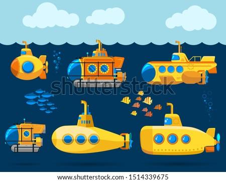 bathyscaphe cartoon  yellow