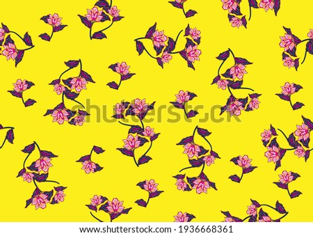 Batik floral pattern, flowers and leaves. Oriental traditional hand painted, seamless print. Vektor EPS 10  Stock foto ©