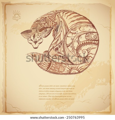 Batik vector tribal background with cat