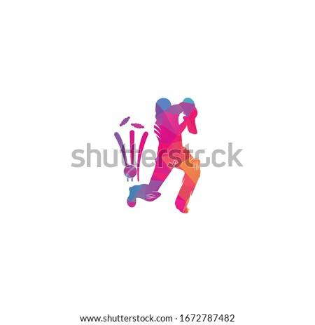 Batsman playing cricket. Cricket competition logo. Cricket championship. Cricket logo