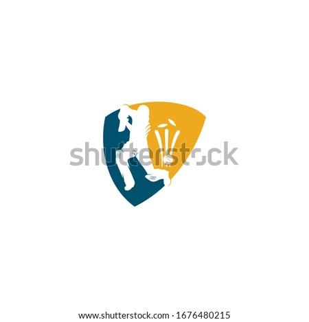 Batsman playing cricket. Cricket competition logo. Cricket championship. Cricket shield shape concept logo