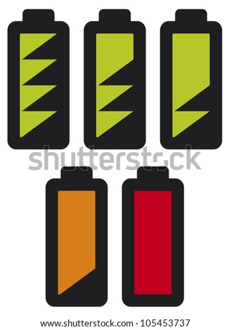 batteries with different charge levels icons set