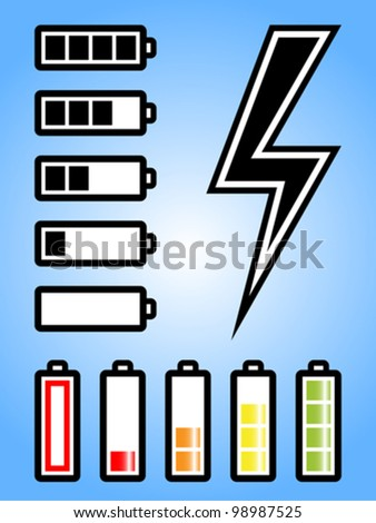 Battery and electricity power icon with charge level. Fully editable vector.