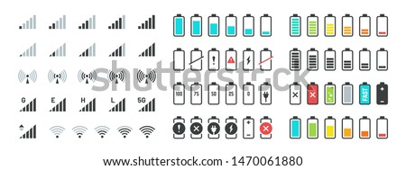 Battery and signal icons. Line and black phone charge status, gsm and wifi signal strength, smartphone UI symbols. Vector illustration indicators for technology gadgets